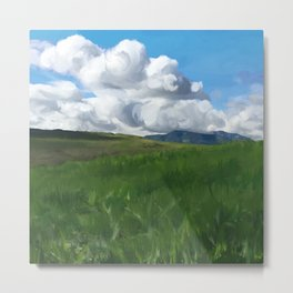 Grassy Green Hills After the Storm Metal Print