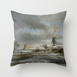 Jacob van Ruisdael - Winter landscape with windmil and a house in scaffolding Throw Pillow