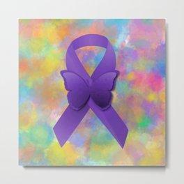 Purple Awareness ribbon Metal Print
