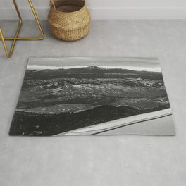 5280 Snowcap // Grainy Black & White Airplane Wing Landscape Photography of Colorado Rocky Mountains Rug