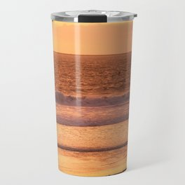 Surfer watching sunset in Southern California Travel Mug