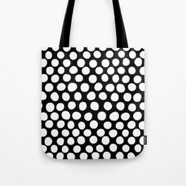 White Organic Dots on Black Tote Bag