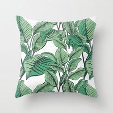 Exotic Tropical Banana Palm Leaf Print Throw Pillow