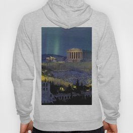 Northern lights over the ruins of the Acropolis; Athens, Greece Hoody