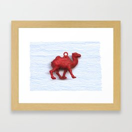 Genetically challenged camel trying to cross the blue mirage Framed Art Print