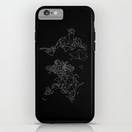 black and white world map low poly illustration iPhone Case
