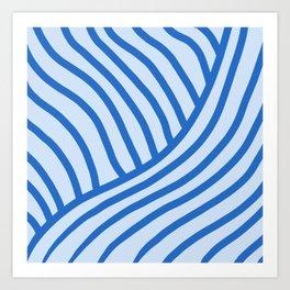 Royal Wave Stripe Blue Art Print