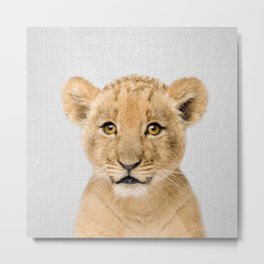 Baby Lion - Colorful Metal Print
