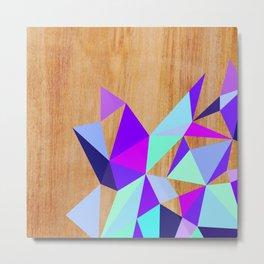 Wooden Geo Purple Metal Print