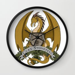 Clan Stonefire Crest - Gold Dragon Wall Clock