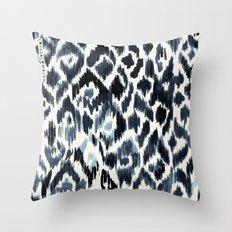 Indigo Ikat Leopard Throw Pillow