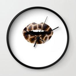 Giraffe Pattern Lips Giraffe Print Fur Print Mouth Animal Print Wall Clock