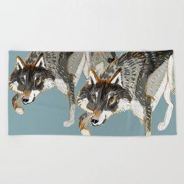 Totem Dark European Wolf Beach Towel