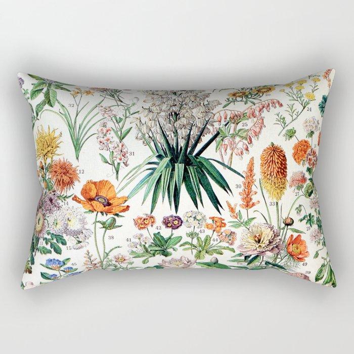 Adolphe Millot - Fleurs B - French vintage poster Rectangular Pillow