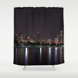 Chicago night skyline, Usa. Shower Curtain