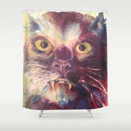 Vampire Cat, Watercolor Painting, Fang Kitty Shower Curtain