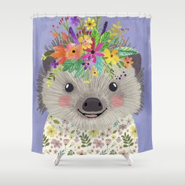 Hedgehog with floral crown Shower Curtain