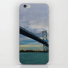 The Ambassador Bridge connects Detroit USA, & Windsor CA iPhone Skin