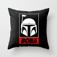 boba Throw Pillows featuring Defy-Boba by IIIIHiveIIII