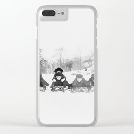Children on sleds in Central Park, New York City Clear iPhone Case