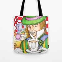 mad hatter Tote Bags featuring Mad Hatter by veronicadegiorgio