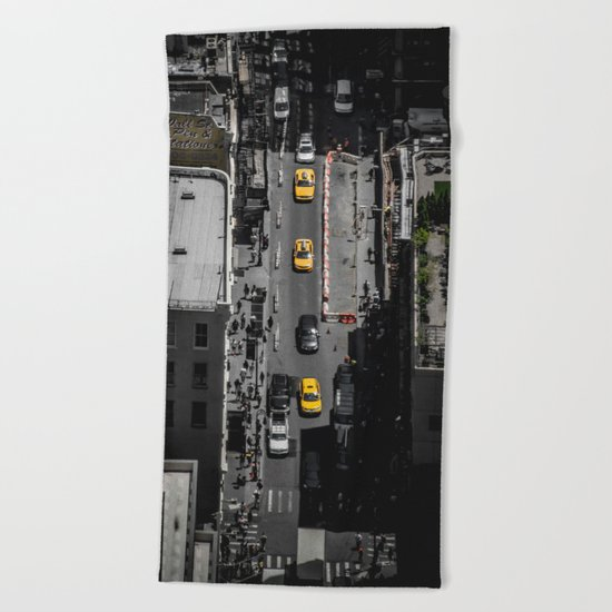 Yellow Cab from Above - Original #society6 exclusive Beach Towel