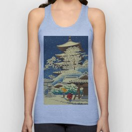 Japanese Woodblock Print Vintage Asian Art Colorful woodblock prints Shrine At Night Snow White Unisex Tank Top