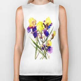Garden Iris Floral Artwork Yellow Purple Blue Floral design, bright colored floral design Biker Tank