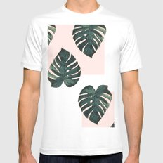 Monstera X Pink White Mens Fitted Tee MEDIUM