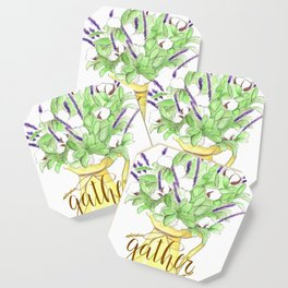 Watercolor painting Yellow vase of purple flowers, Gather calligraphy quote Coaster