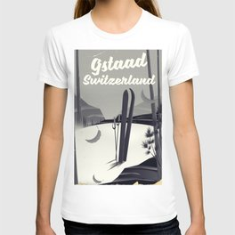 Gstaad Switzerland ski poster. T-shirt