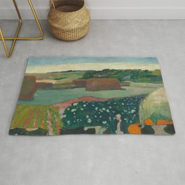 Haystacks in Brittany Oil Painting by Paul Gauguin Rug