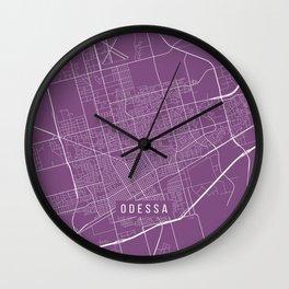 Odessa Map, USA - Purple Wall Clock