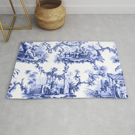 Blue Chinoiserie Toile Rug