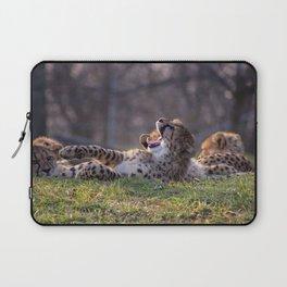 baby cheetah yawning Laptop Sleeve