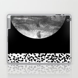 Maru - moon abstract painting texture black and white monochromatic urban brooklyn nature city Laptop & iPad Skin