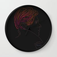 bowie Wall Clocks featuring Bowie by Bruno Gabrielli