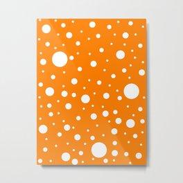 Mixed Polka Dots - White on Orange Metal Print