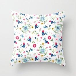 Scandi Folk Chickens Pattern Throw Pillow