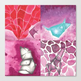 Fish, Bear, Giraffe and Mouse Canvas Print