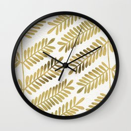 Gold Leaflets Wall Clock
