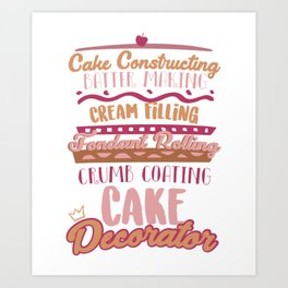 Cake Making Fondant Rolling Cake Decorator Art Print