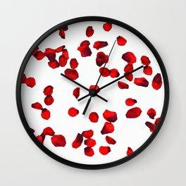 Red rose petals watercolor painting Wall Clock