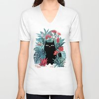 hawaii V-neck T-shirts featuring Popoki by littleclyde