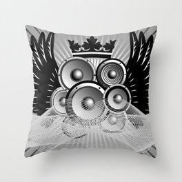 Abstract music illustration with wings Throw Pillow