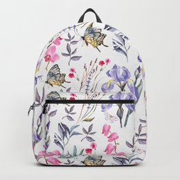 Pink lavender watercolor hand painted orchid floral butterfly Backpack