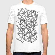 Abstract New Black on White SMALL White Mens Fitted Tee