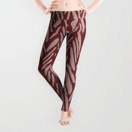 Herringbone pattern with rust red and cream stripes Leggings