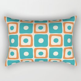 Mid Century Modern Square Dot Pattern 771 Turquoise and Orange Rectangular Pillow