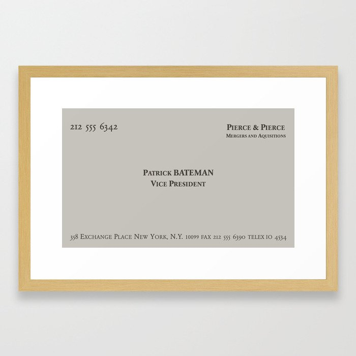 American Psycho - Patrick Bateman Business Card Framed Art Print by ...